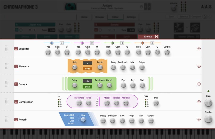 Chromaphone 3 Effects panel