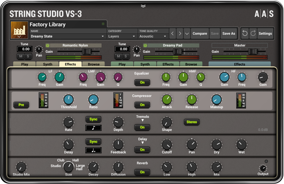 String Studio VS-3 Effects panel