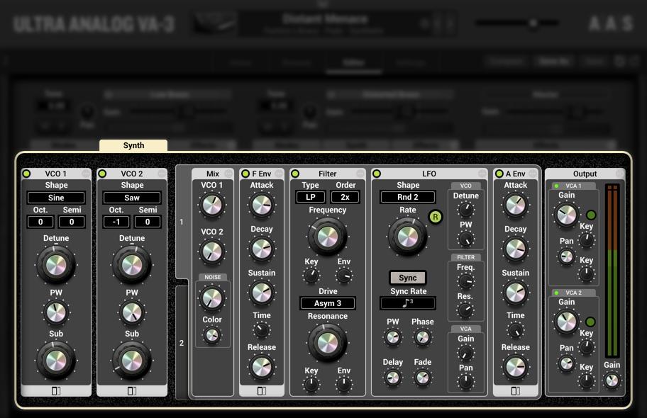 UltraAnalogVA-3 Synth panel